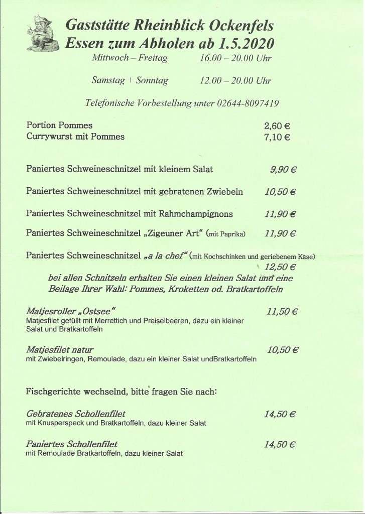 Rheinblick Ockenfels - Essen zum Abholen
